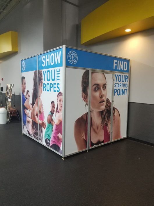Gold's Gym signage, custom modular walls, custom modular room, custom interior graphics, custom wall graphics, custom wall paper